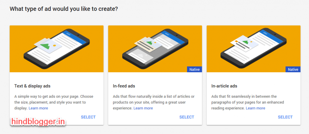 Google Adsense Native Ads Categories