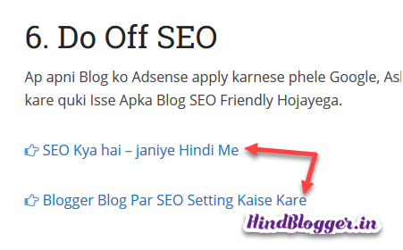 On Page SEO Internal Linking